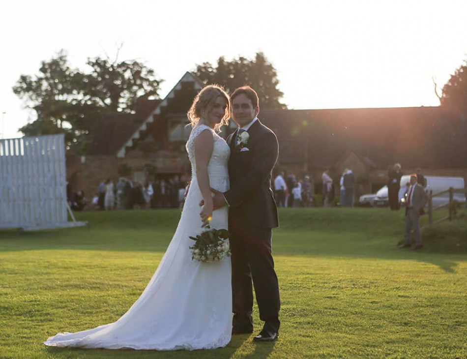 Husband and Wife posing outside Eversholt Hall