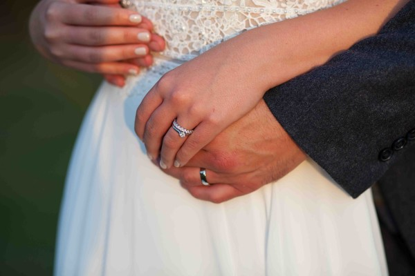 Bride and Groom holding hands Wrest Park August 2019
