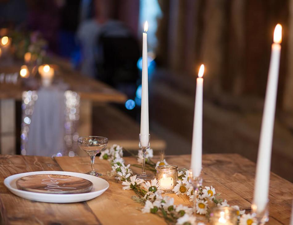 Dining setting inside the barn