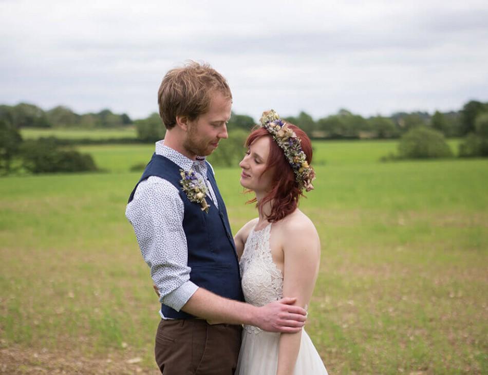 Husband and Wife stood outside at Huntsmill Farm, Buckinghamshire