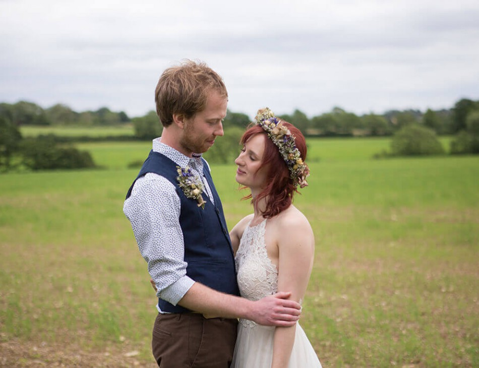 Husband and Wife stood outside at Huntsmill Farm, Buckinghamshire