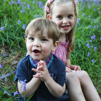 Making memories in the blue bell wood.